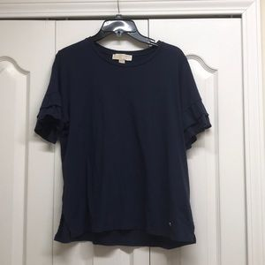 Michael kors navy blue top with ruffles on sleeves
